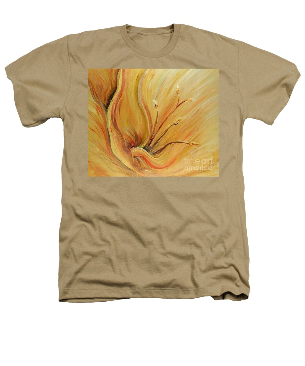 Gold Heathers T-Shirt featuring the painting Golden Glow by Nadine Rippelmeyer