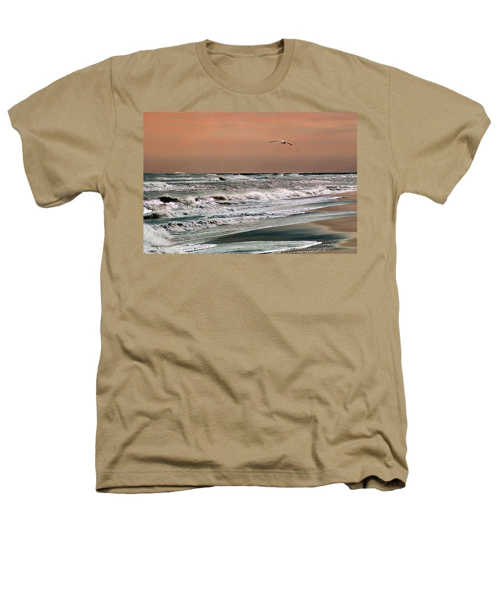 Seascape Heathers T-Shirt featuring the photograph Golden Shore by Steve Karol