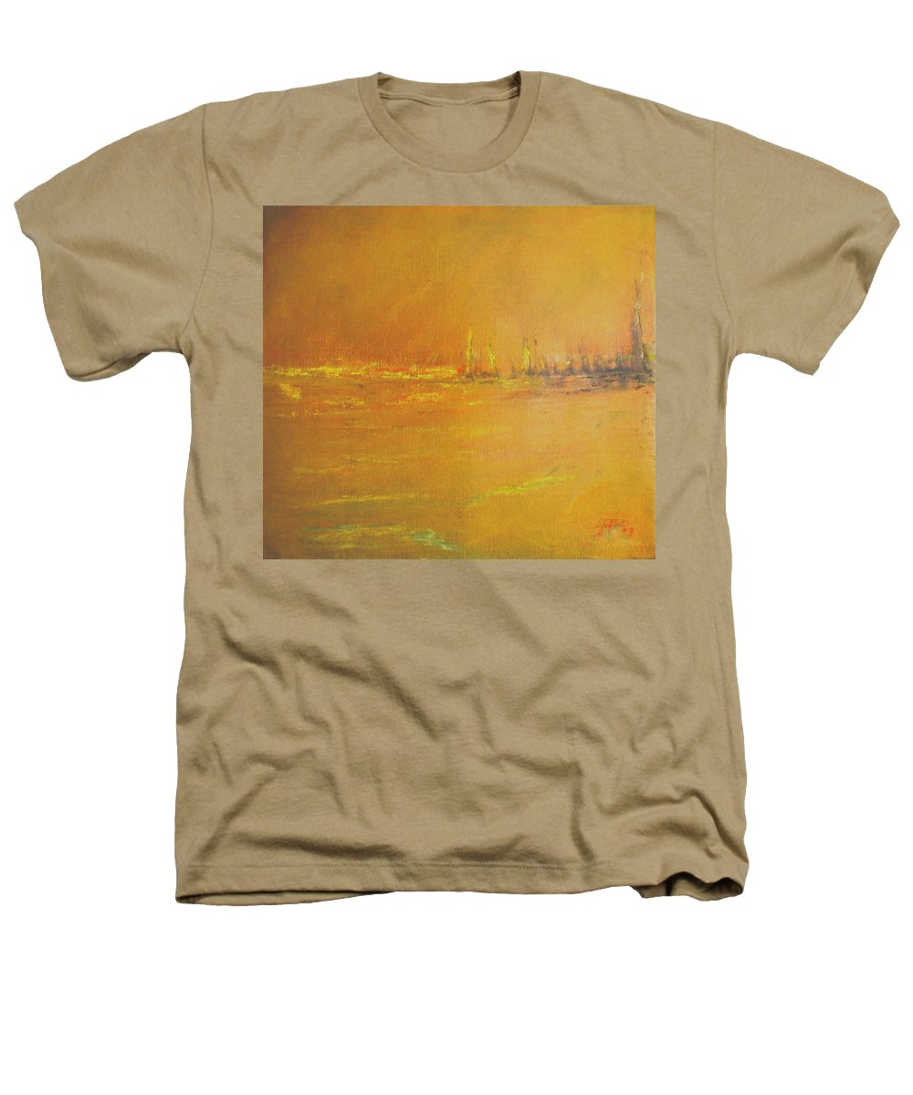 Ships Heathers T-Shirt featuring the painting Golden Sky by Jack Diamond