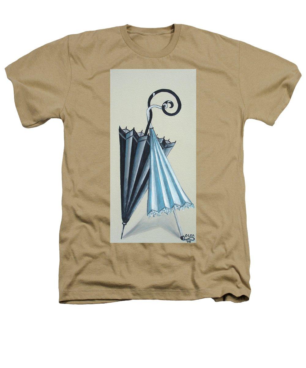 Umbrellas Heathers T-Shirt featuring the painting Goog Morning by Olga Alexeeva