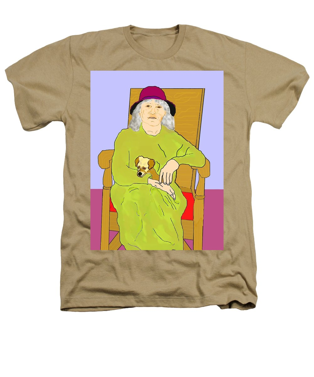 Grandmother Heathers T-Shirt featuring the painting Grandma And Puppy by Pharris Art