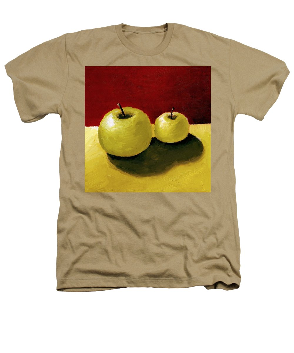 Apple Heathers T-Shirt featuring the painting Granny Smith Apples by Michelle Calkins