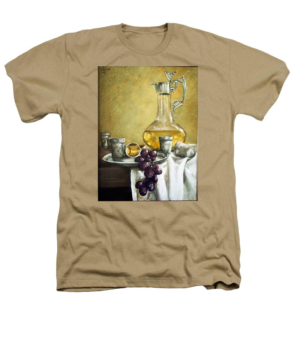 Still Life Cristal Bottle Grapes Fruits Glass Heathers T-Shirt featuring the painting Grapes And Cristals by Natalia Tejera
