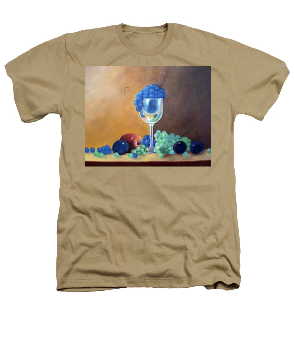Wine Galsses With Grapes Heathers T-Shirt featuring the painting Grapes And Plums by Susan Dehlinger
