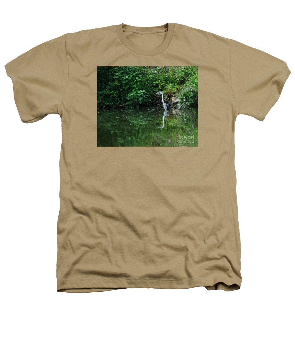 Lanscape Water Bird Crane Heron Blue Green Flowers Great Photograph Heathers T-Shirt featuring the photograph Great Blue Heron Hunting Fish by Dawn Downour
