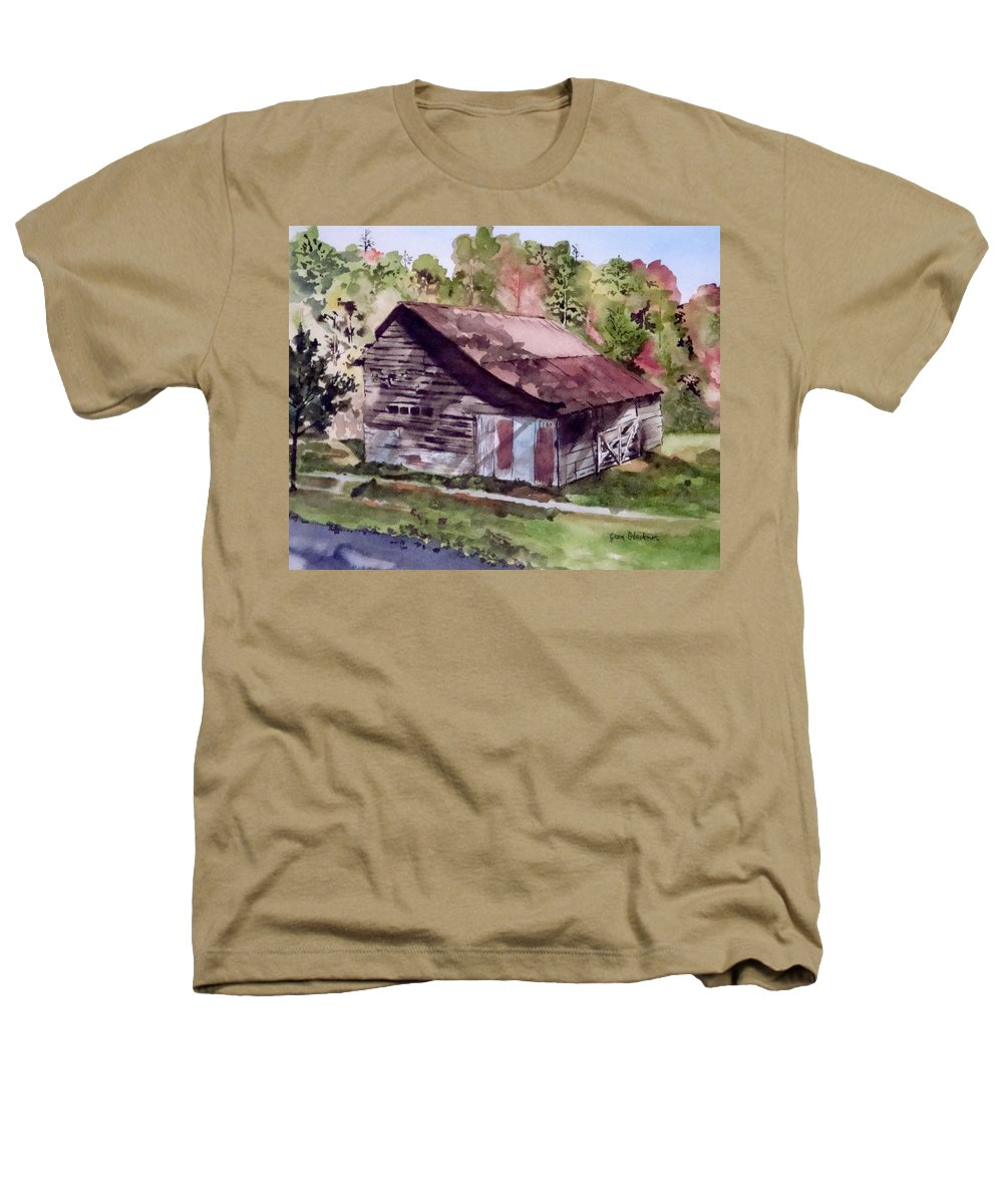 Barns Heathers T-Shirt featuring the painting Green Creek Barn by Jean Blackmer