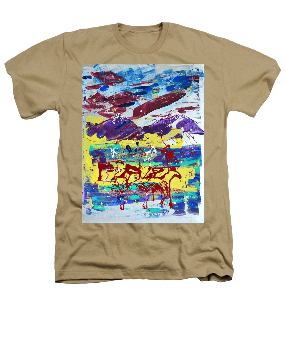 Horses Grazing Heathers T-Shirt featuring the painting Green Pastures And Purple Mountains by J R Seymour