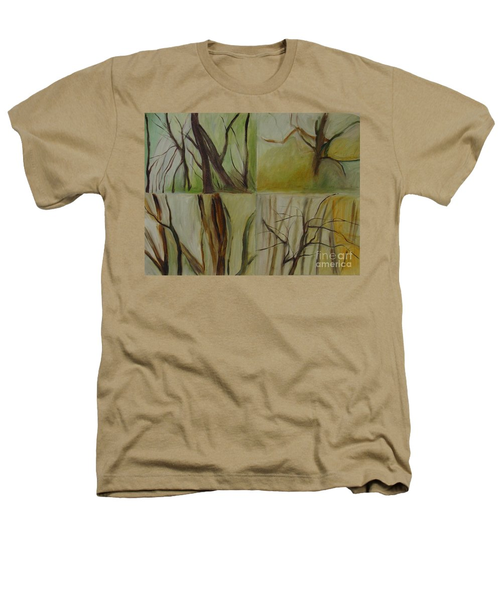 Spring Young Trees Saplings Trees Heathers T-Shirt featuring the painting Green Sonnet by Leila Atkinson