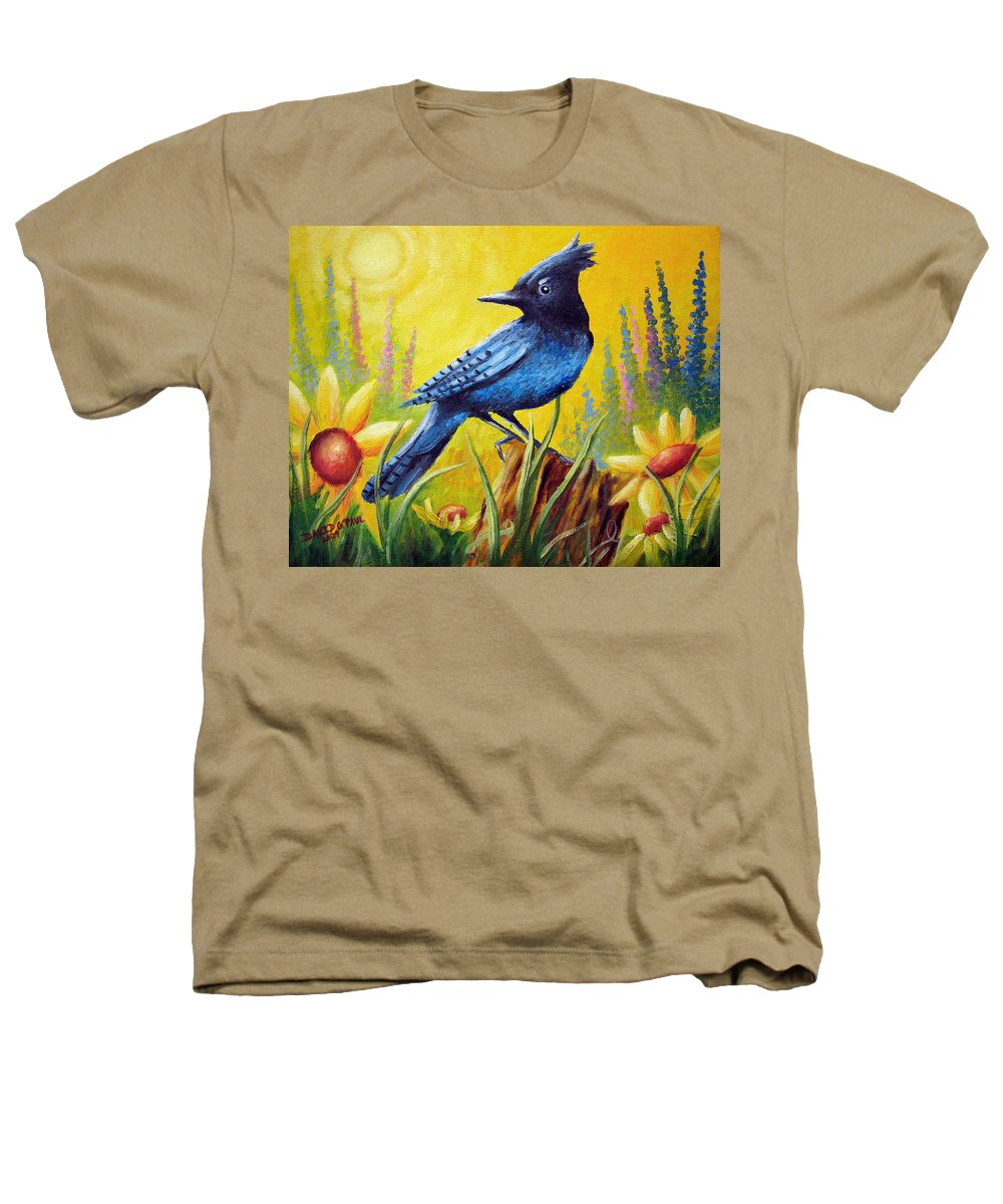 Bird Heathers T-Shirt featuring the painting Greeting The Day by David G Paul