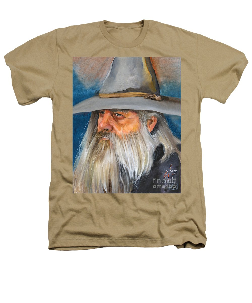 Wizard Heathers T-Shirt featuring the painting Grey Days by J W Baker