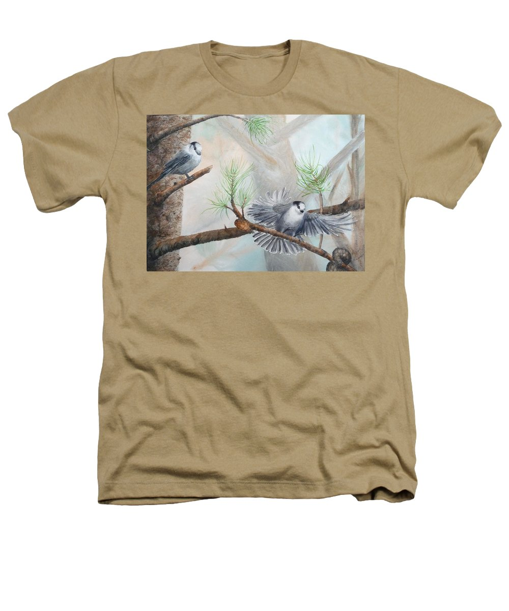 Grey Jay Heathers T-Shirt featuring the painting Grey Jays In A Jack Pine by Ruth Kamenev