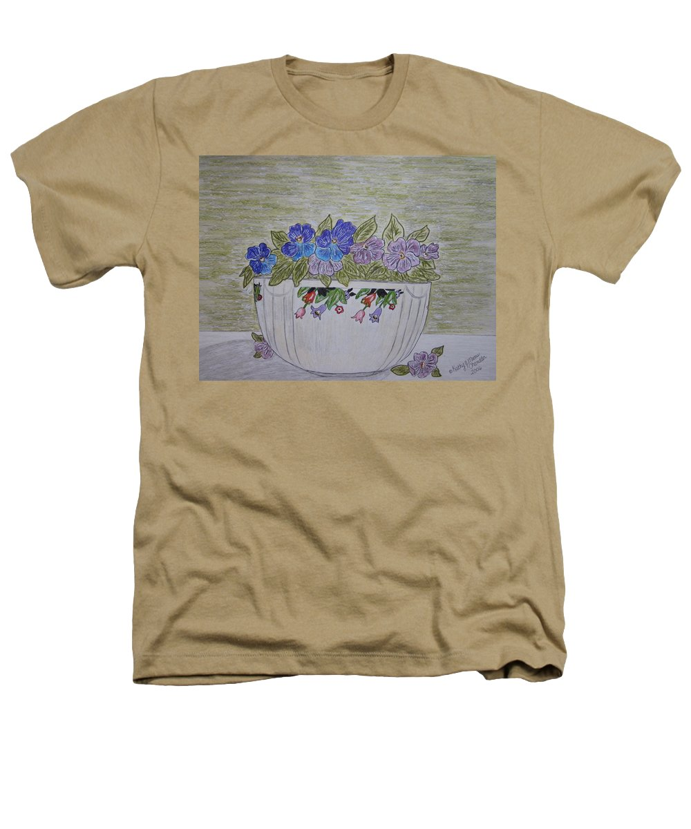 Hall China Heathers T-Shirt featuring the painting Hall China Crocus Bowl With Violets by Kathy Marrs Chandler