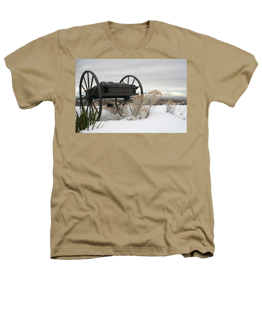 Handcart Heathers T-Shirt featuring the photograph Handcart Monument by Margie Wildblood
