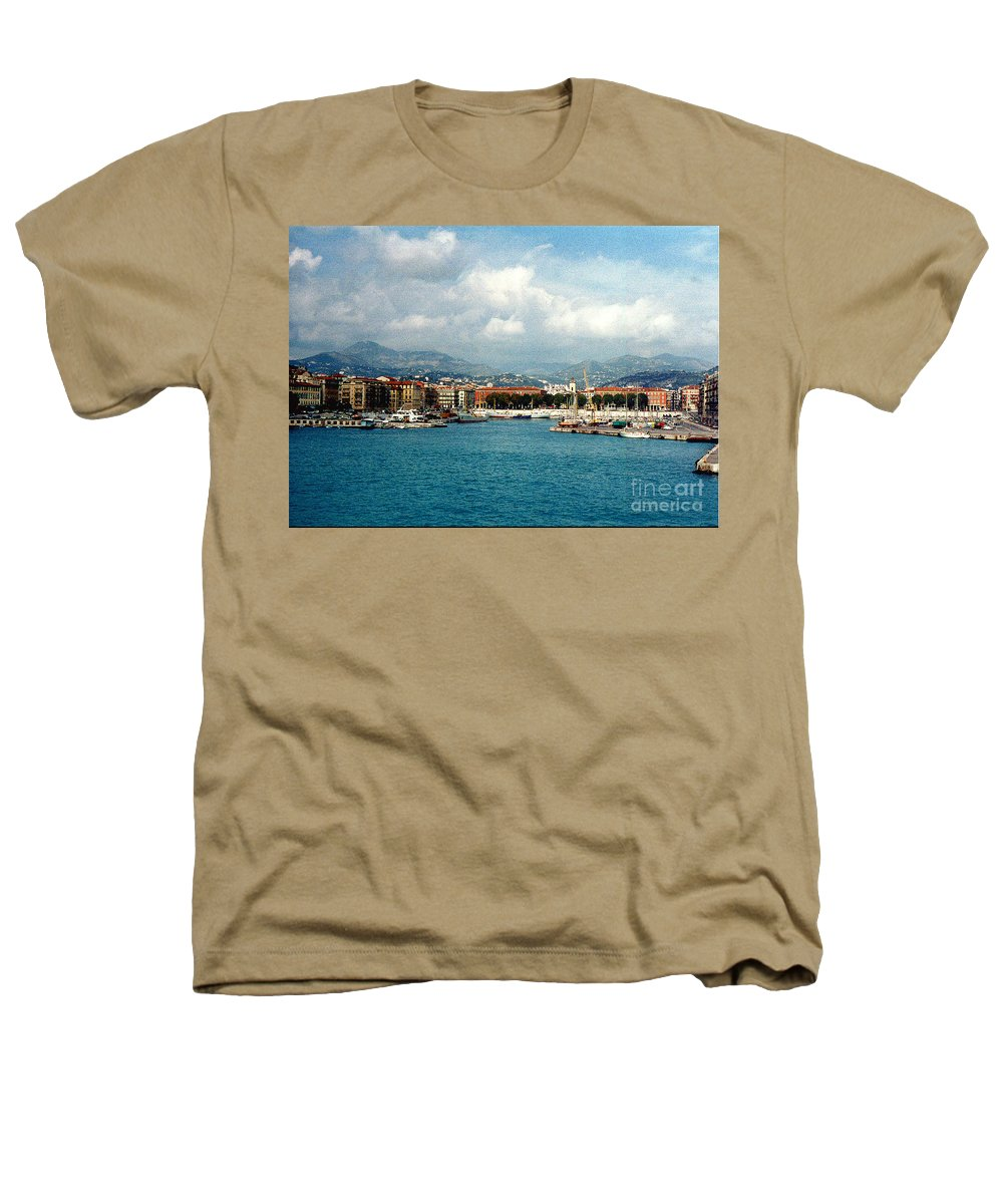 Landscape Heathers T-Shirt featuring the photograph Harbor Scene In Nice France by Nancy Mueller