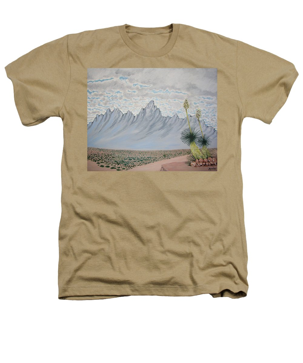 Desertscape Heathers T-Shirt featuring the painting Hazy Desert Day by Marco Morales