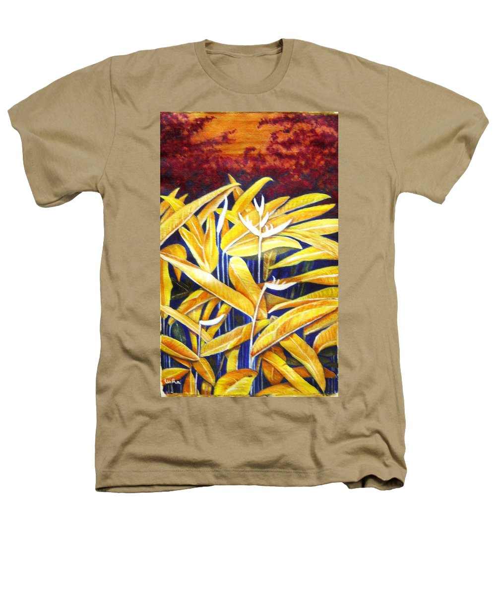 Heliconia Heathers T-Shirt featuring the painting Heliconia by Usha Shantharam