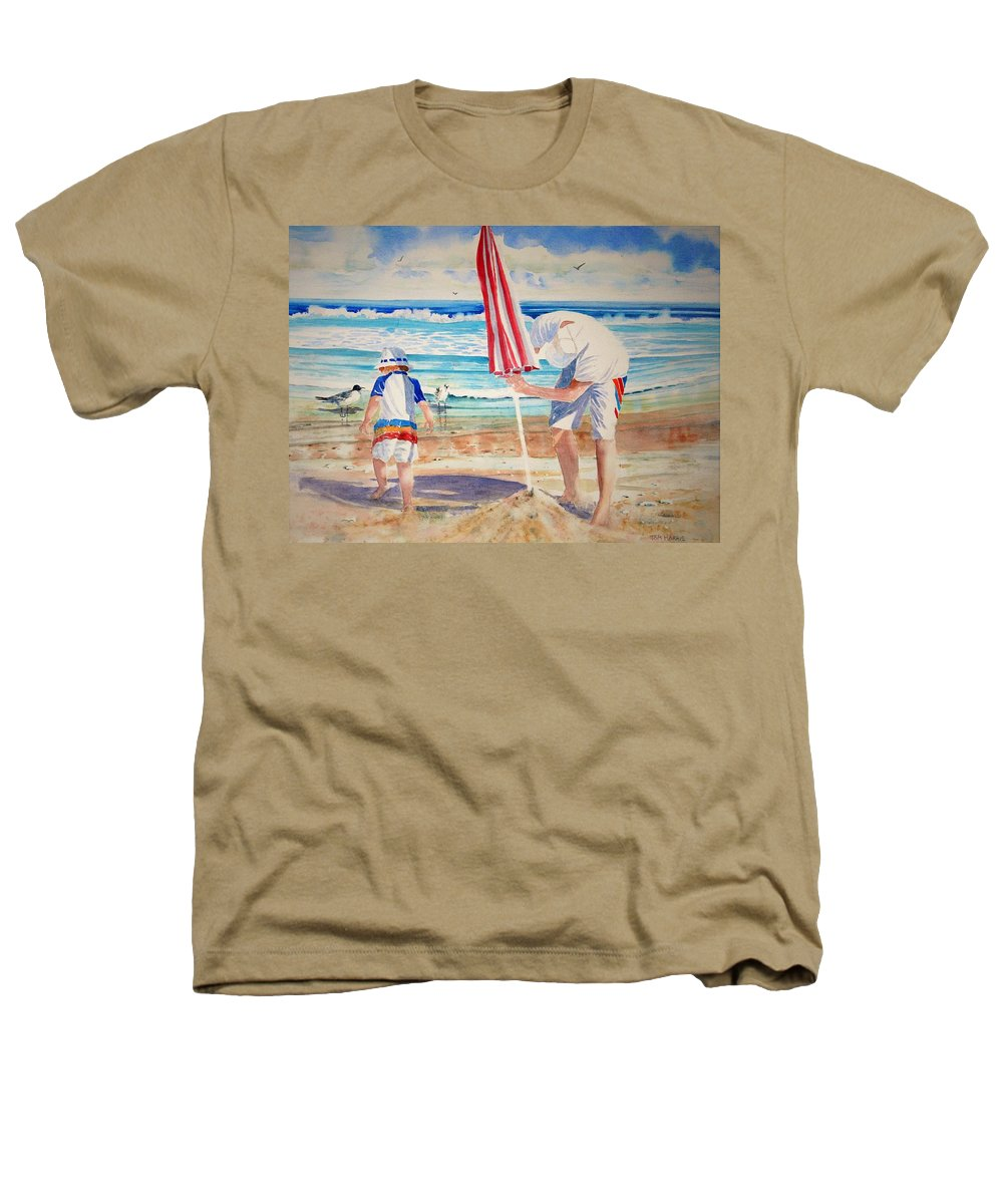 Beach Heathers T-Shirt featuring the painting Helping Dad Set Up The Camp by Tom Harris