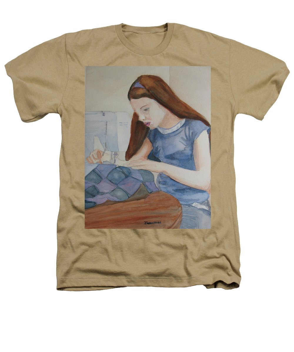 Girl Heathers T-Shirt featuring the painting Her First Quilt by Jenny Armitage