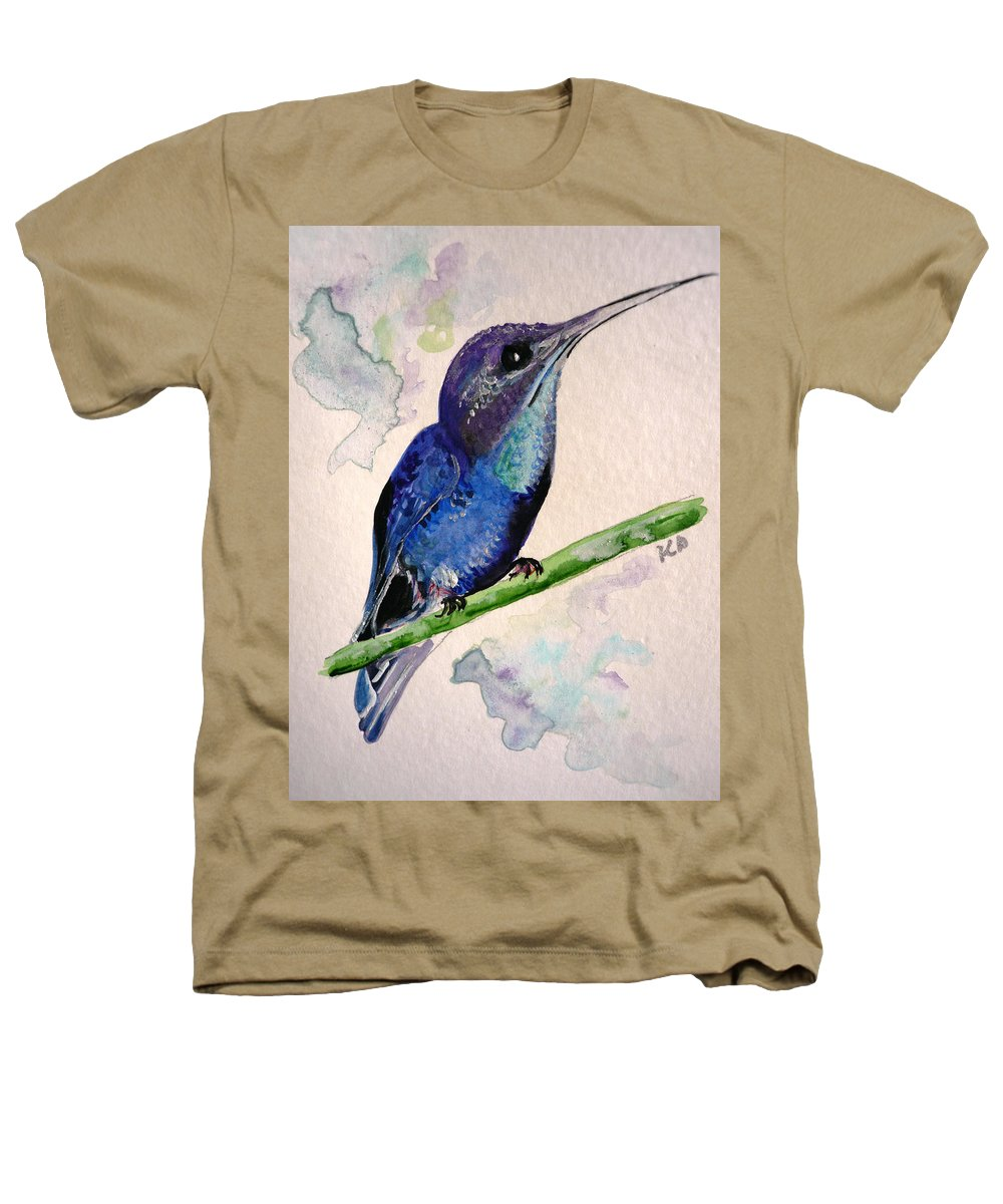 Hummingbird Painting Bird Painting Tropical Caribbean Painting Watercolor Painting Heathers T-Shirt featuring the painting hHUMMINGBIRD 2  by Karin Dawn Kelshall- Best