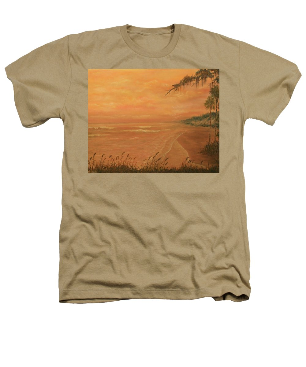 Beach; Ocean; Palm Trees; Water Heathers T-Shirt featuring the painting High Tide by Ben Kiger