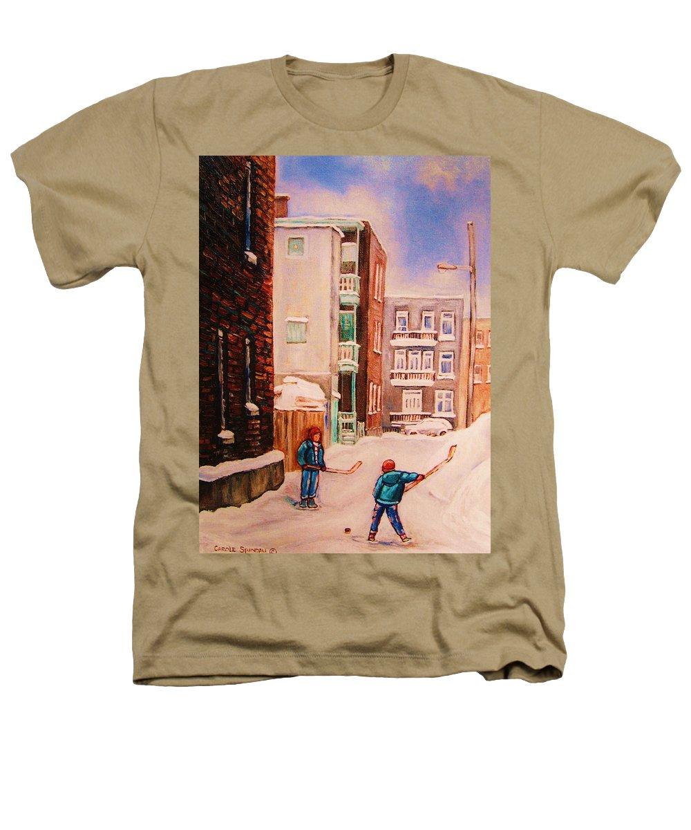 Hockey Heathers T-Shirt featuring the painting Hockey Practice by Carole Spandau