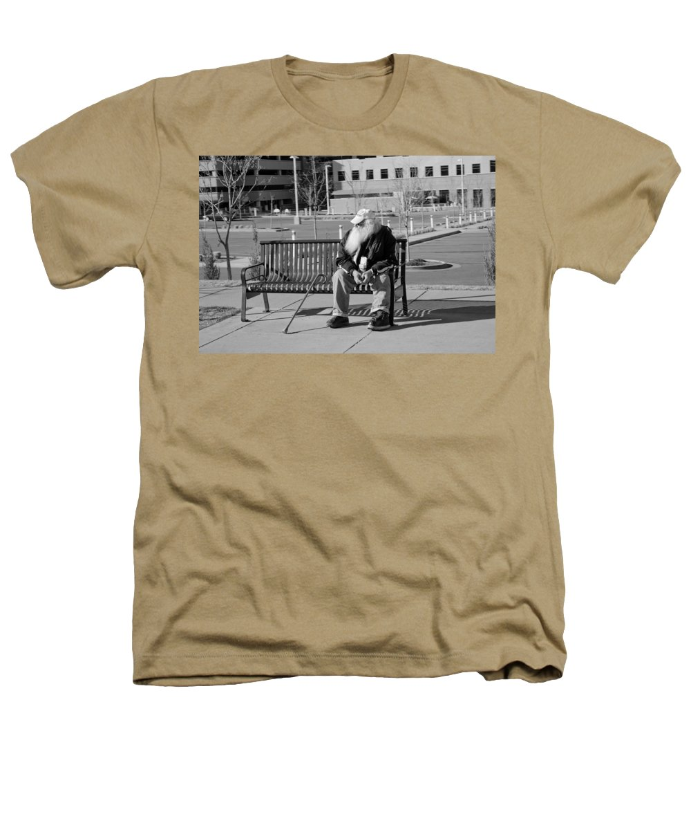 Portrait Heathers T-Shirt featuring the photograph Homeless Man by Angus Hooper Iii