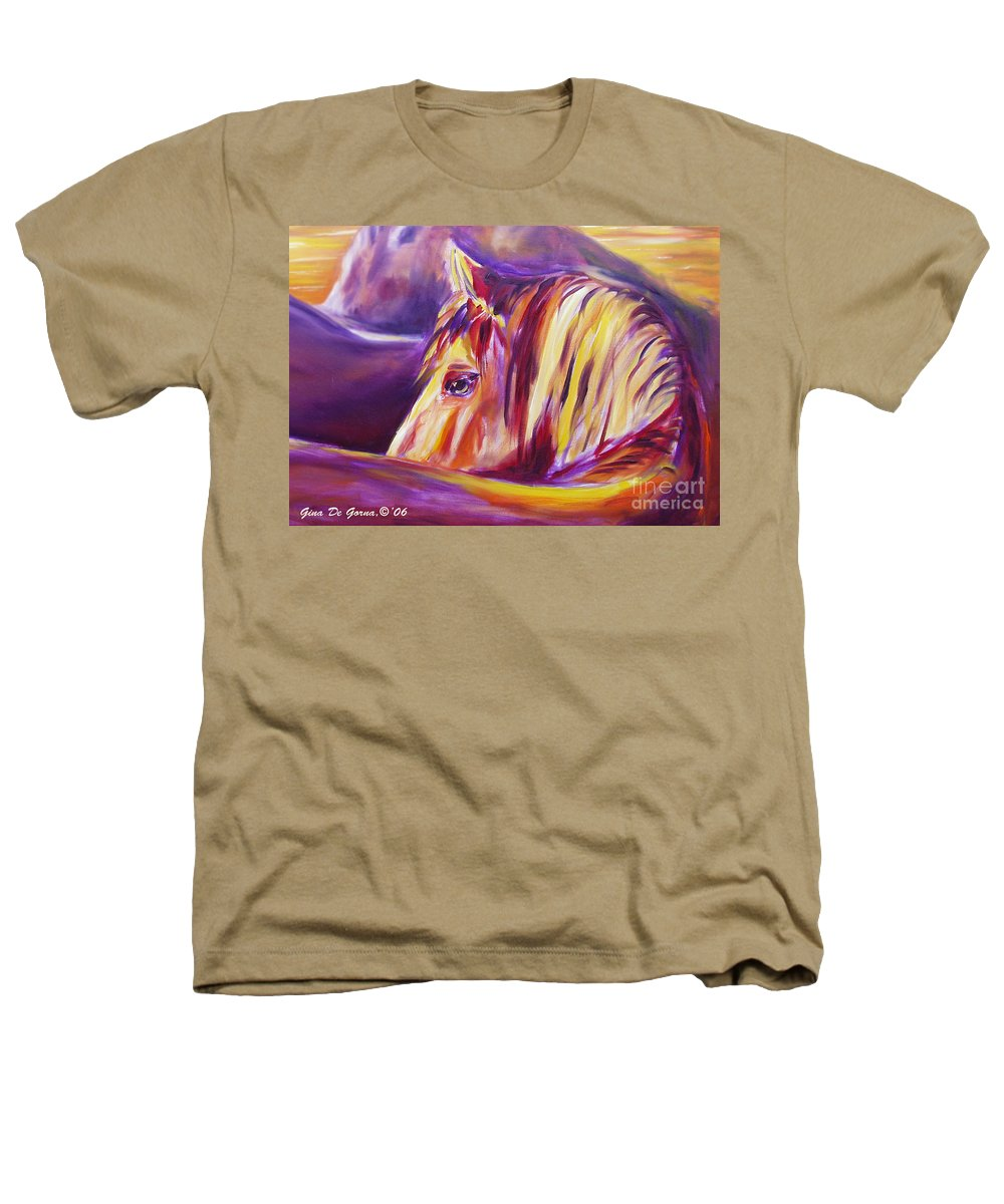 Horses Heathers T-Shirt featuring the painting Horse World Detail by Gina De Gorna