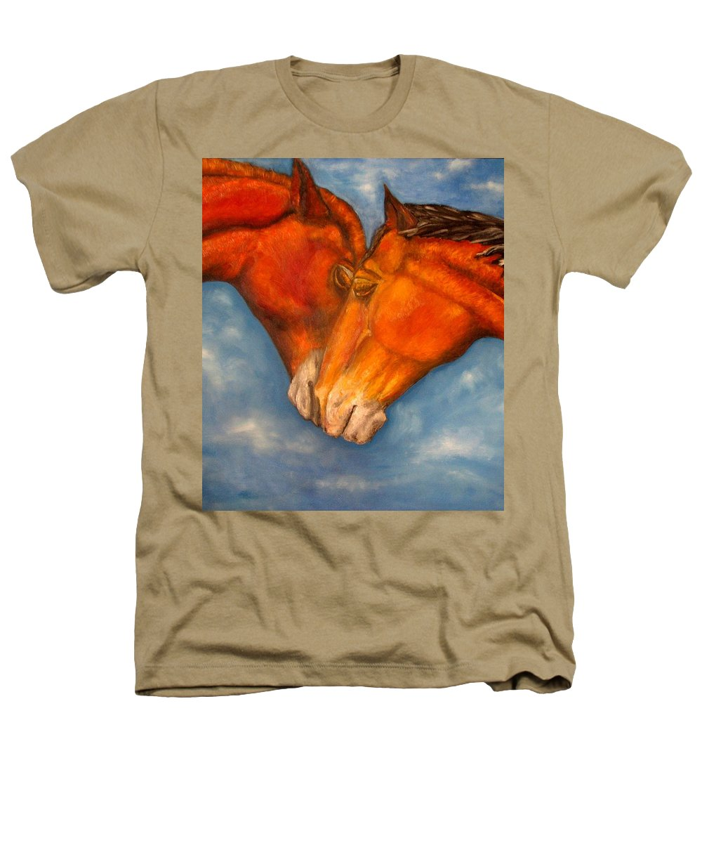 Horses Heathers T-Shirt featuring the painting Horses In Love.oil Painting by Natalja Picugina