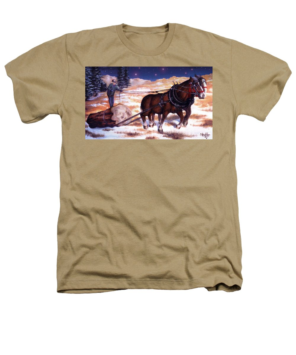 Horse Heathers T-Shirt featuring the painting Horses Pulling Log by Curtiss Shaffer