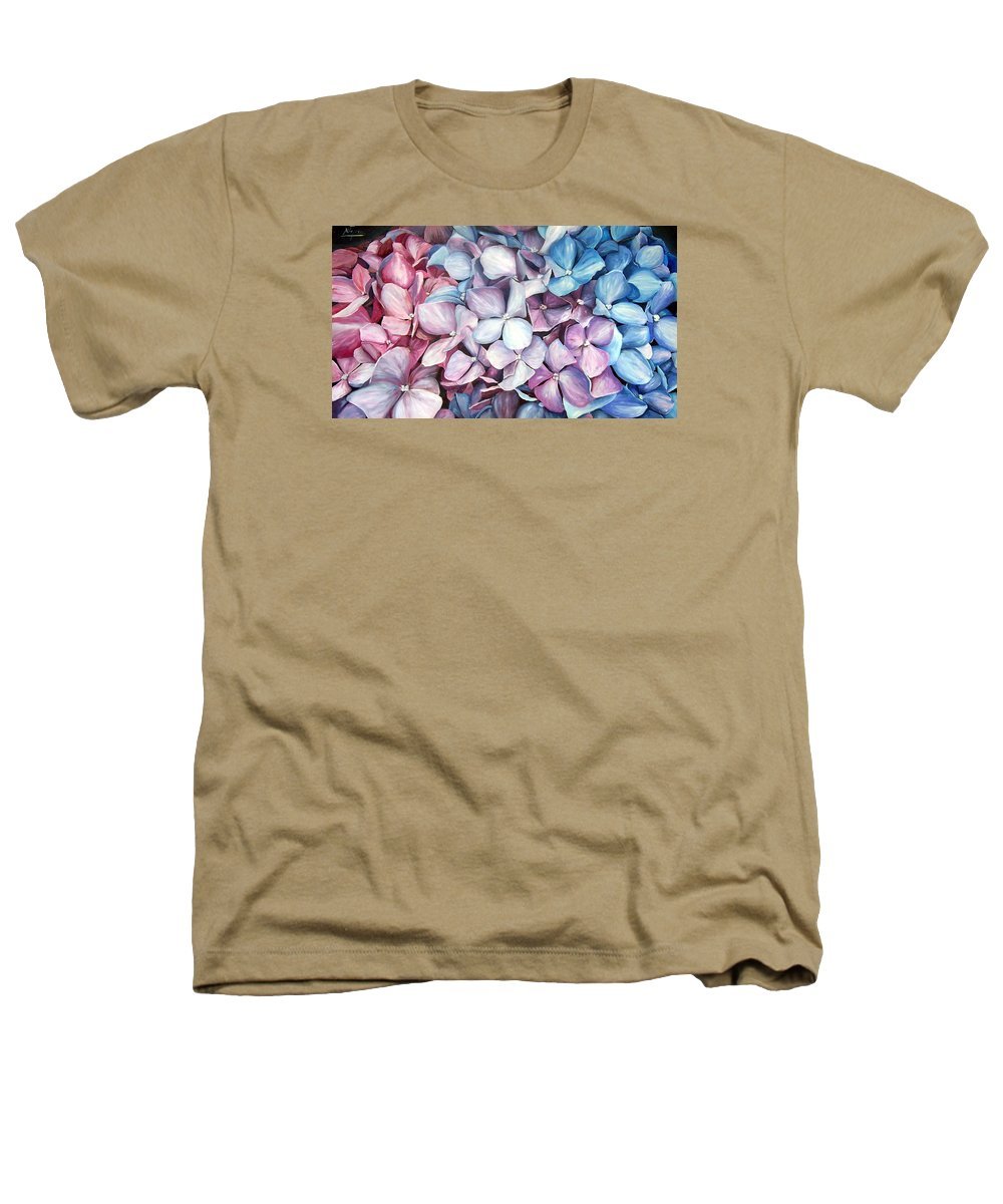 Flowers Nature Blue Violet Macro Heathers T-Shirt featuring the painting Hortensias by Natalia Tejera