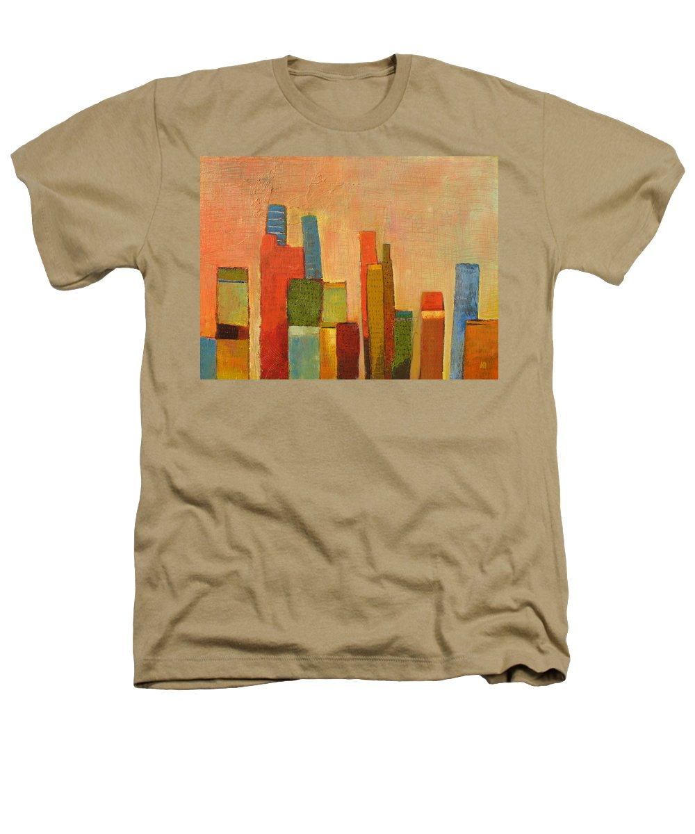 Abstract Cityscape Heathers T-Shirt featuring the painting Hot Manhattan by Habib Ayat