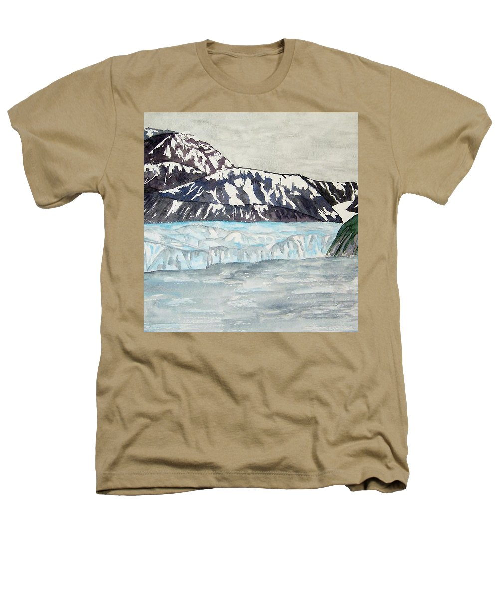Glacier Heathers T-Shirt featuring the painting Hubbard Glacier In July by Larry Wright