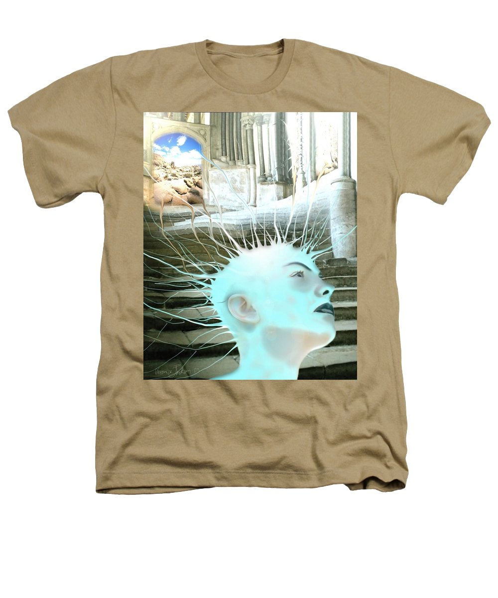Thoughts Stairs Energy Space Heathers T-Shirt featuring the digital art I by Veronica Jackson