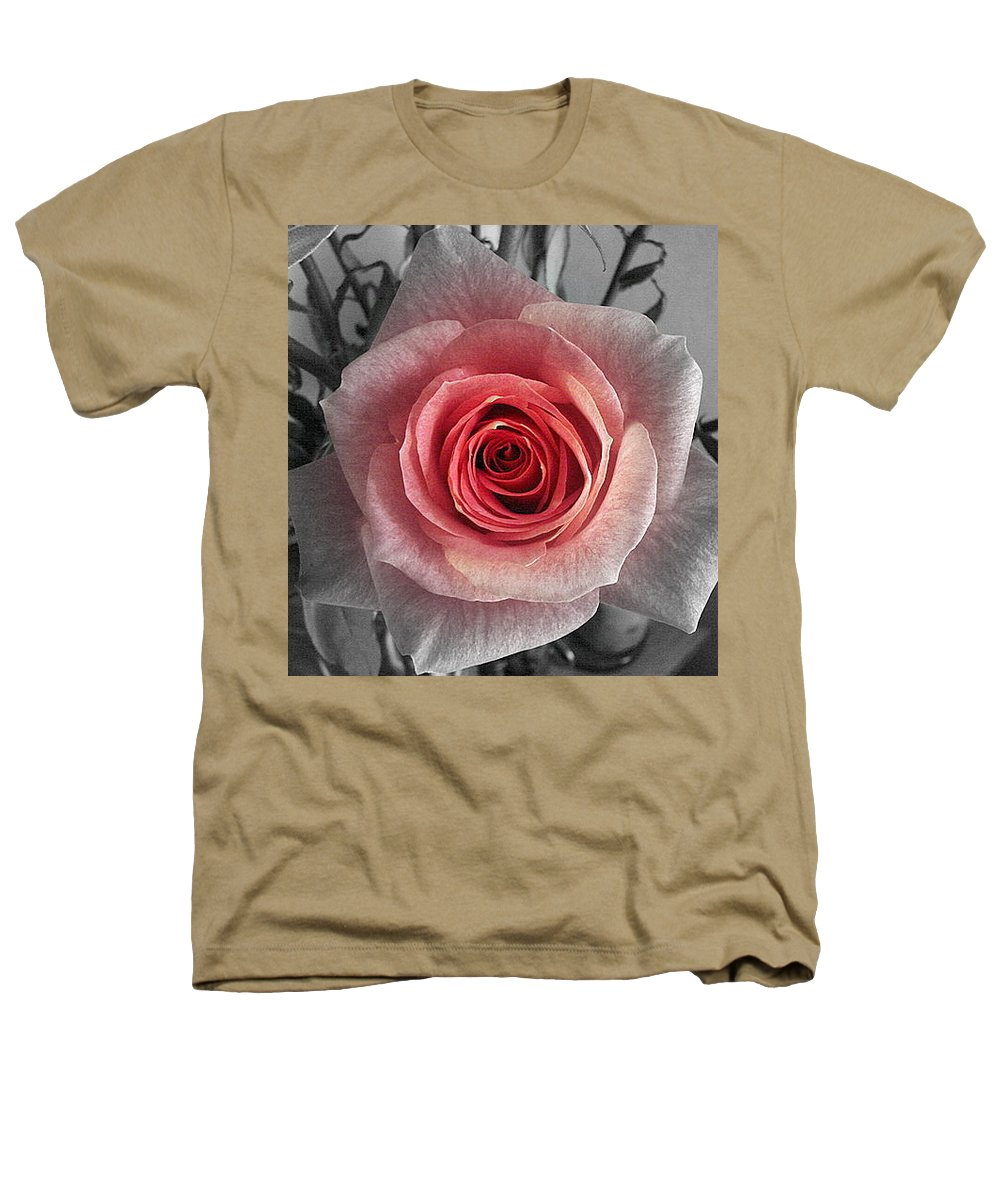 Rose Red Blackandwhite Heathers T-Shirt featuring the photograph In The Center by Luciana Seymour