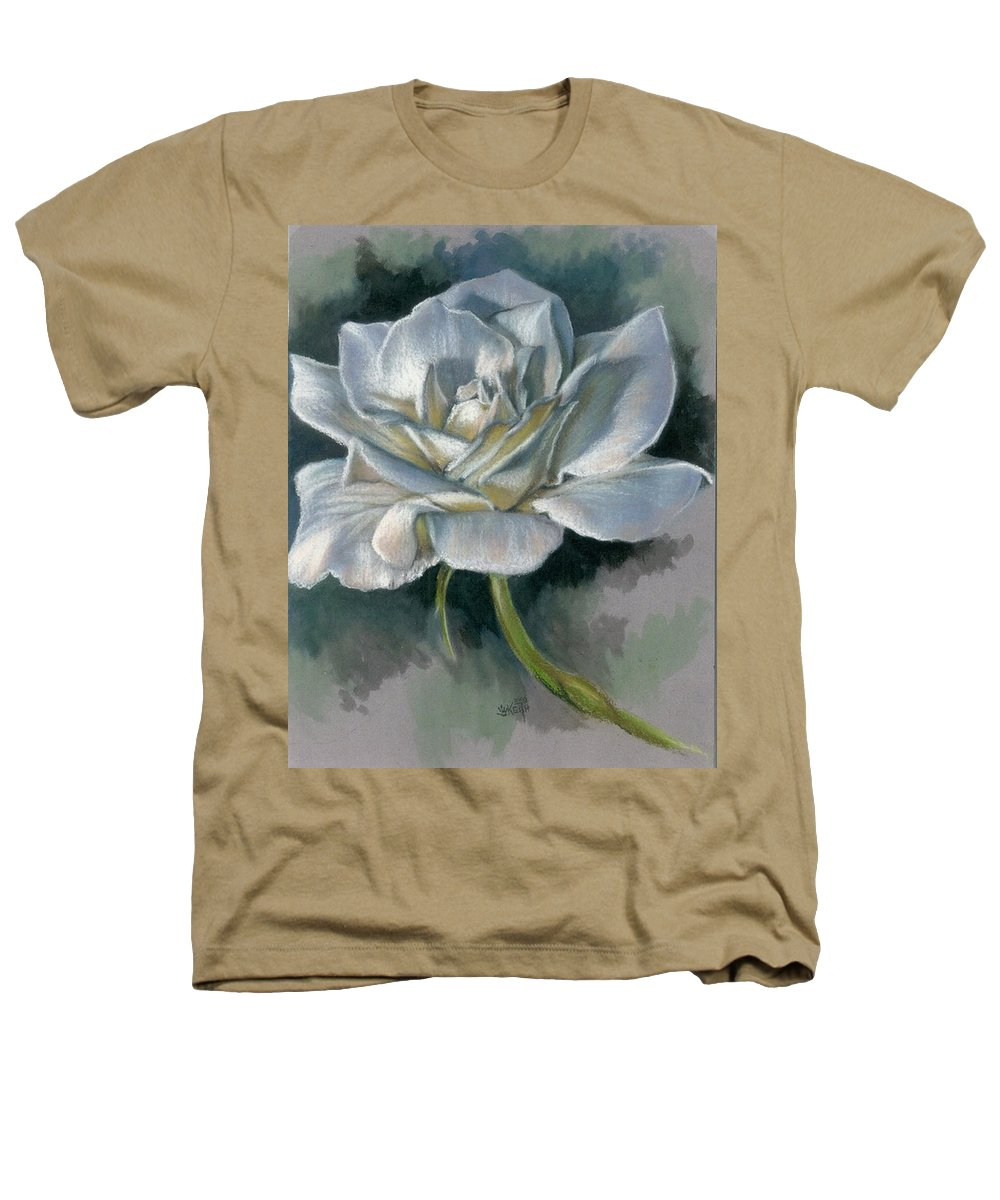 Rose Heathers T-Shirt featuring the mixed media Innocence by Barbara Keith