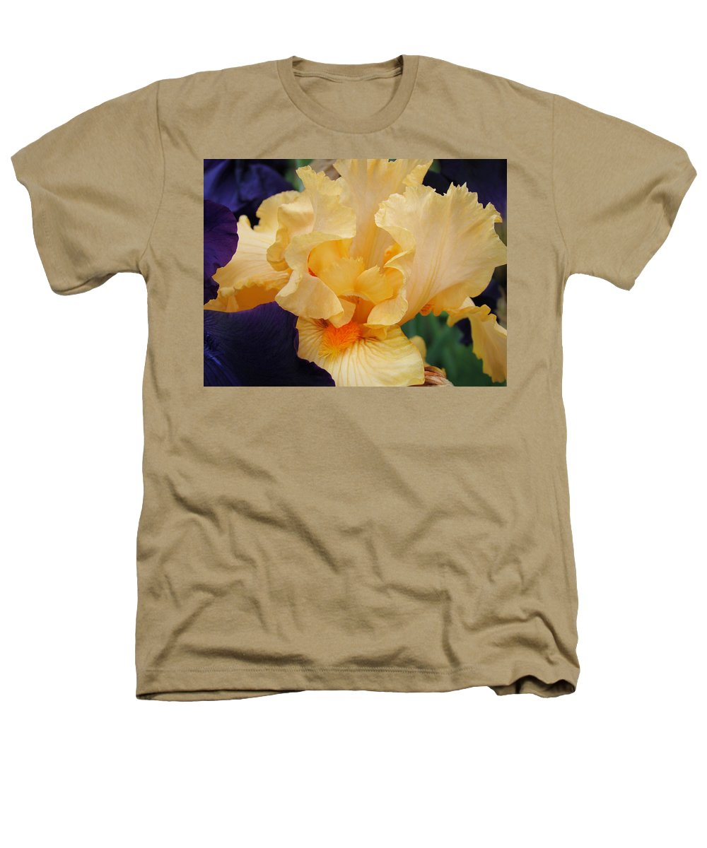 �irises Artwork� Heathers T-Shirt featuring the photograph Irises Art Prints Peach Iris Flowers Artwork Floral Botanical Art Baslee Troutman by Baslee Troutman