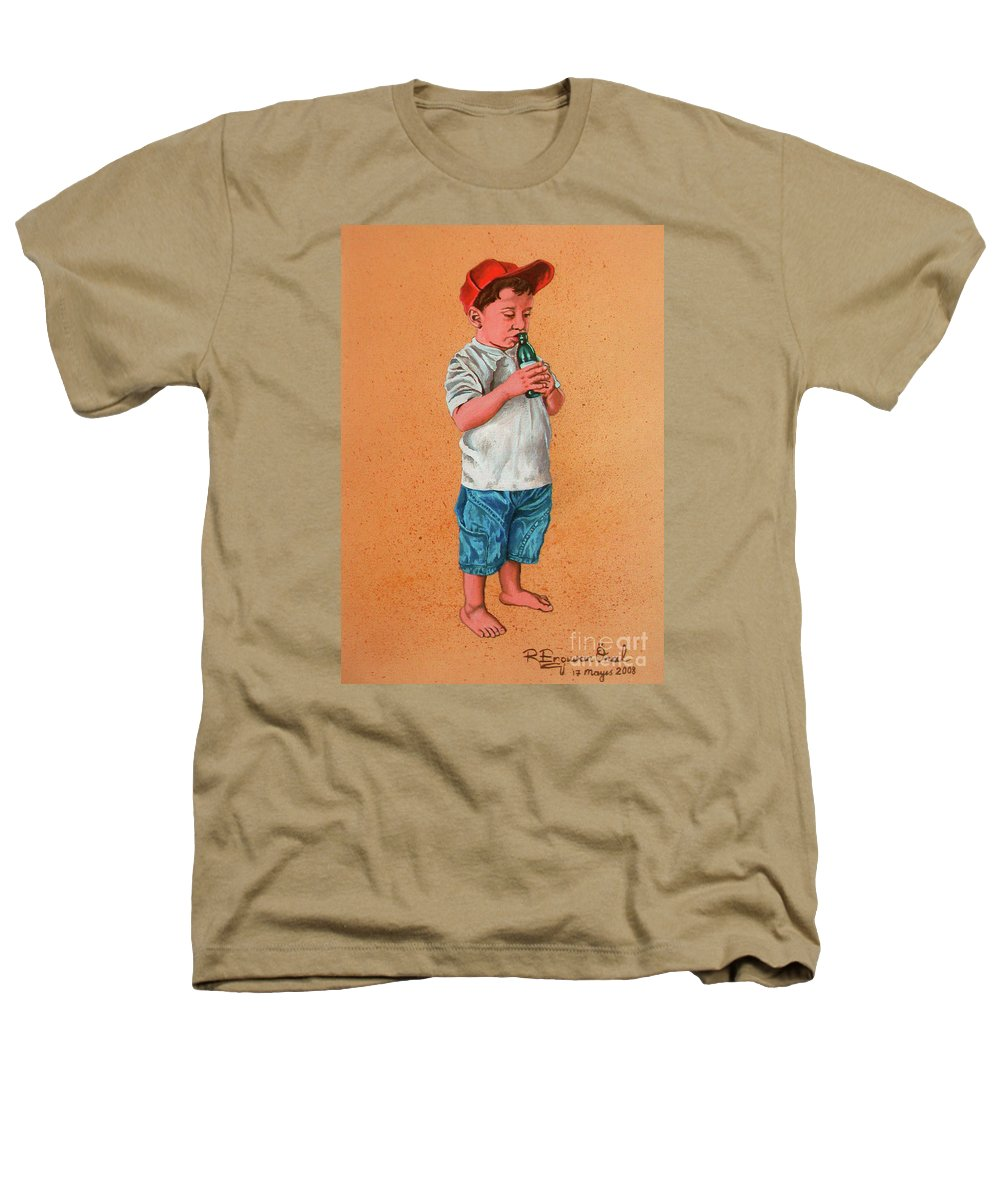 Summer Heathers T-Shirt featuring the painting It's A Hot Day - Es Un Dia Caliente by Rezzan Erguvan-Onal