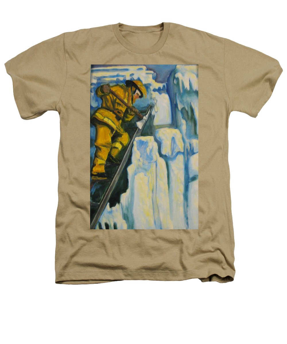 Firefighters Heathers T-Shirt featuring the painting Its Not Over Till Its Over by John Malone