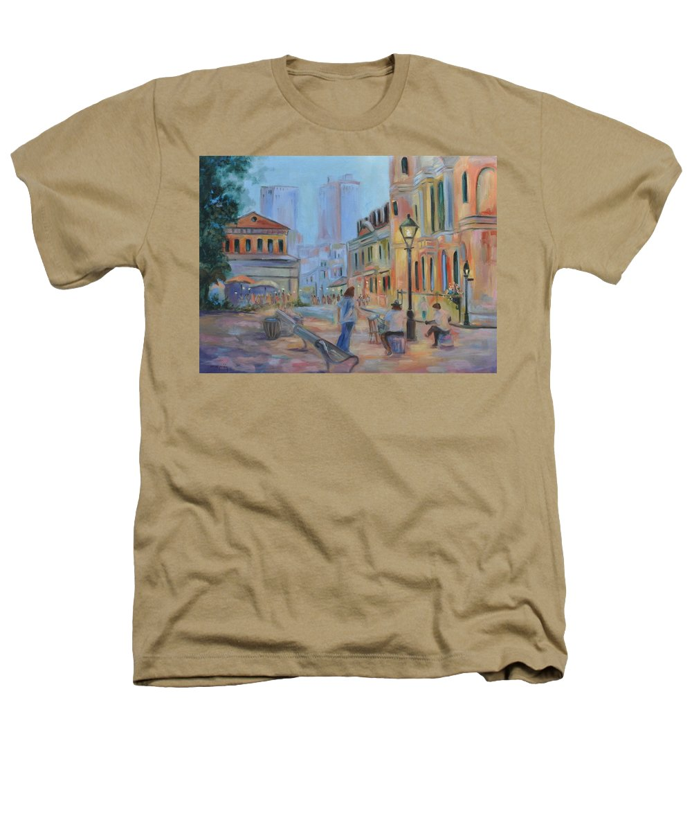 New Orleans Heathers T-Shirt featuring the painting Jackson Square Musicians by Ginger Concepcion