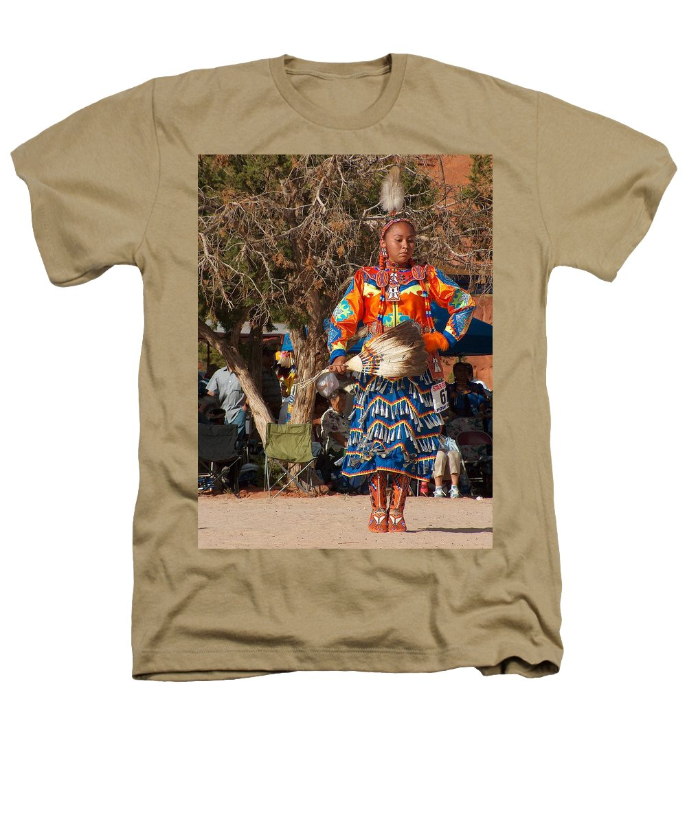 Pow-wow Dancer Heathers T-Shirt featuring the photograph Jingle Dress Dancer At Star Feather Pow-wow by Tim McCarthy
