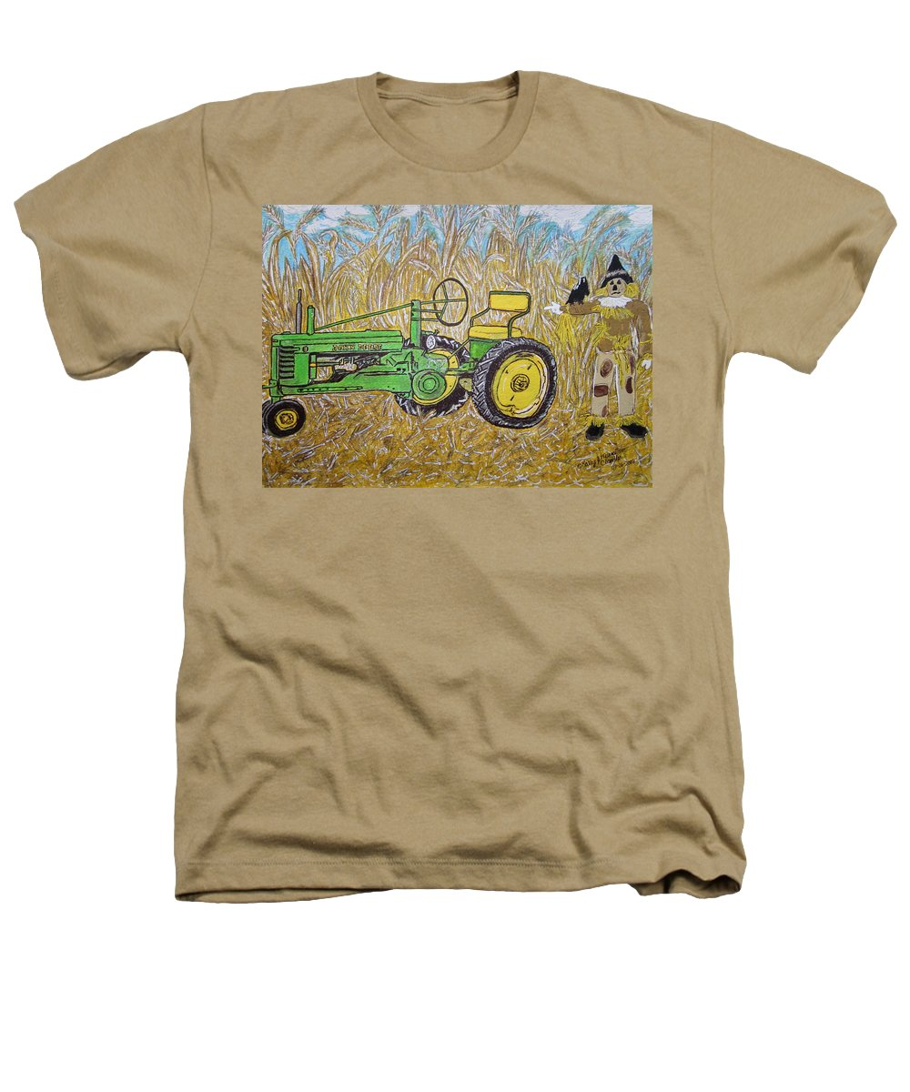 John Deere Heathers T-Shirt featuring the painting John Deere Tractor And The Scarecrow by Kathy Marrs Chandler