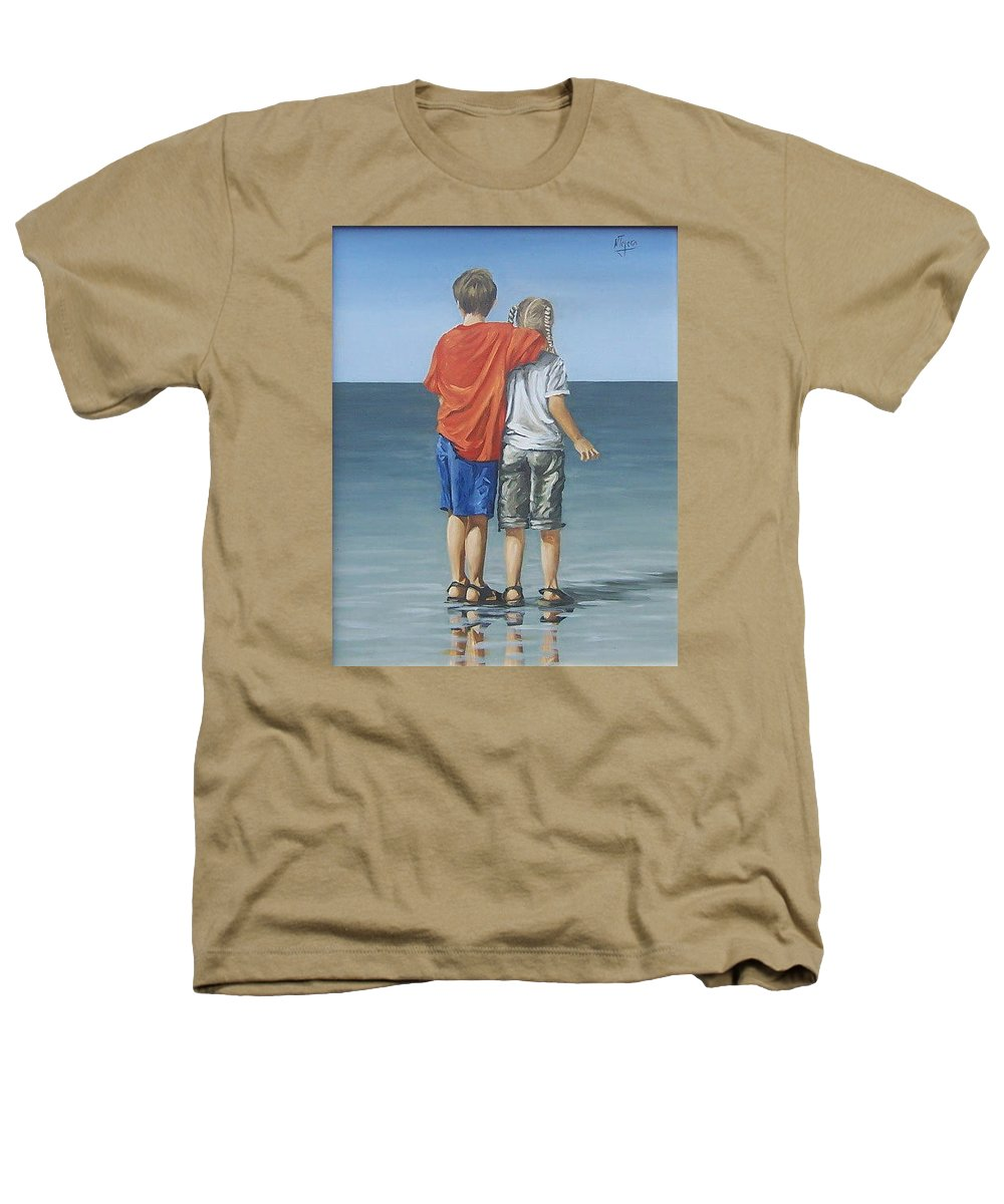 Kids Heathers T-Shirt featuring the painting Kids by Natalia Tejera