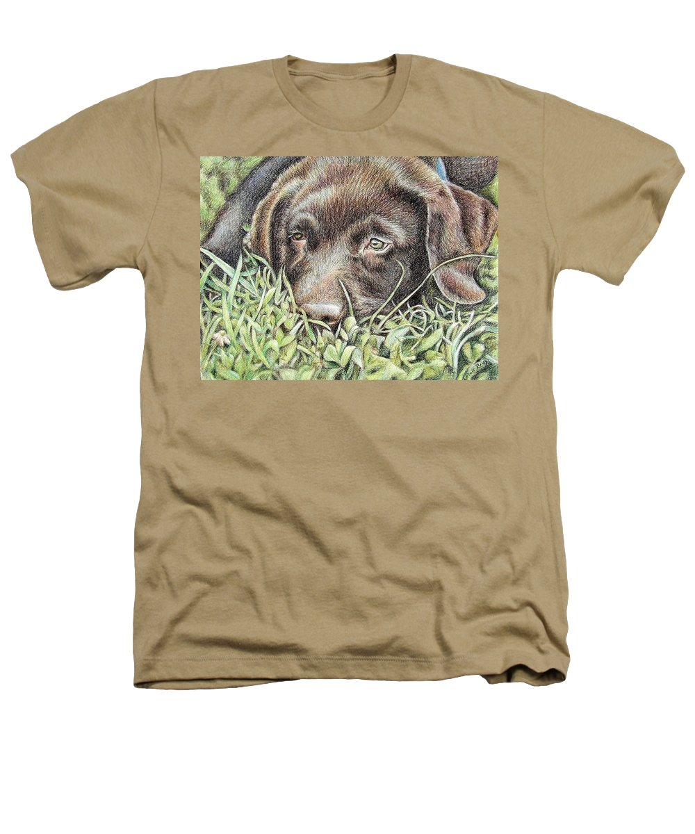 Dog Heathers T-Shirt featuring the pastel Labrador Puppy by Nicole Zeug