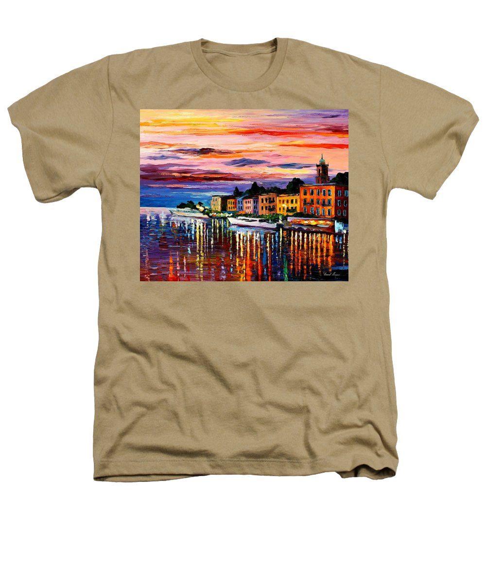 Cityscape Heathers T-Shirt featuring the painting Lake Como - Bellagio by Leonid Afremov