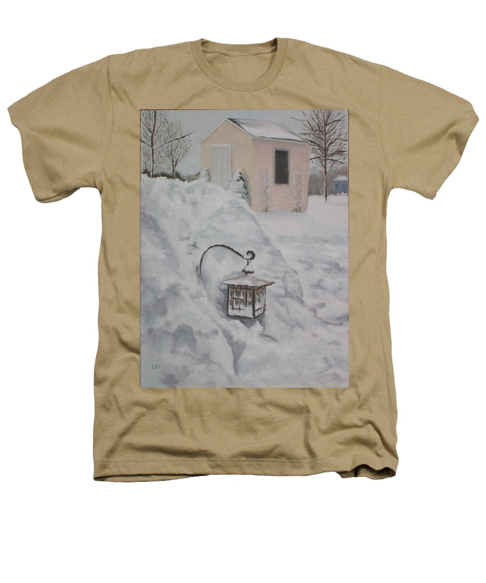 Snow Heathers T-Shirt featuring the painting Lantern In The Snow by Lea Novak