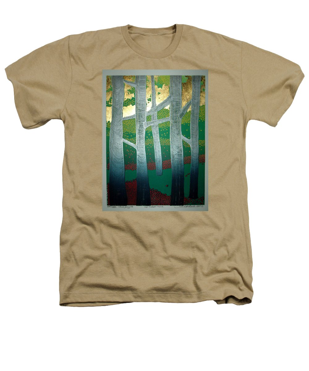 Landscape Heathers T-Shirt featuring the mixed media Light Between The Trees by Jarle Rosseland