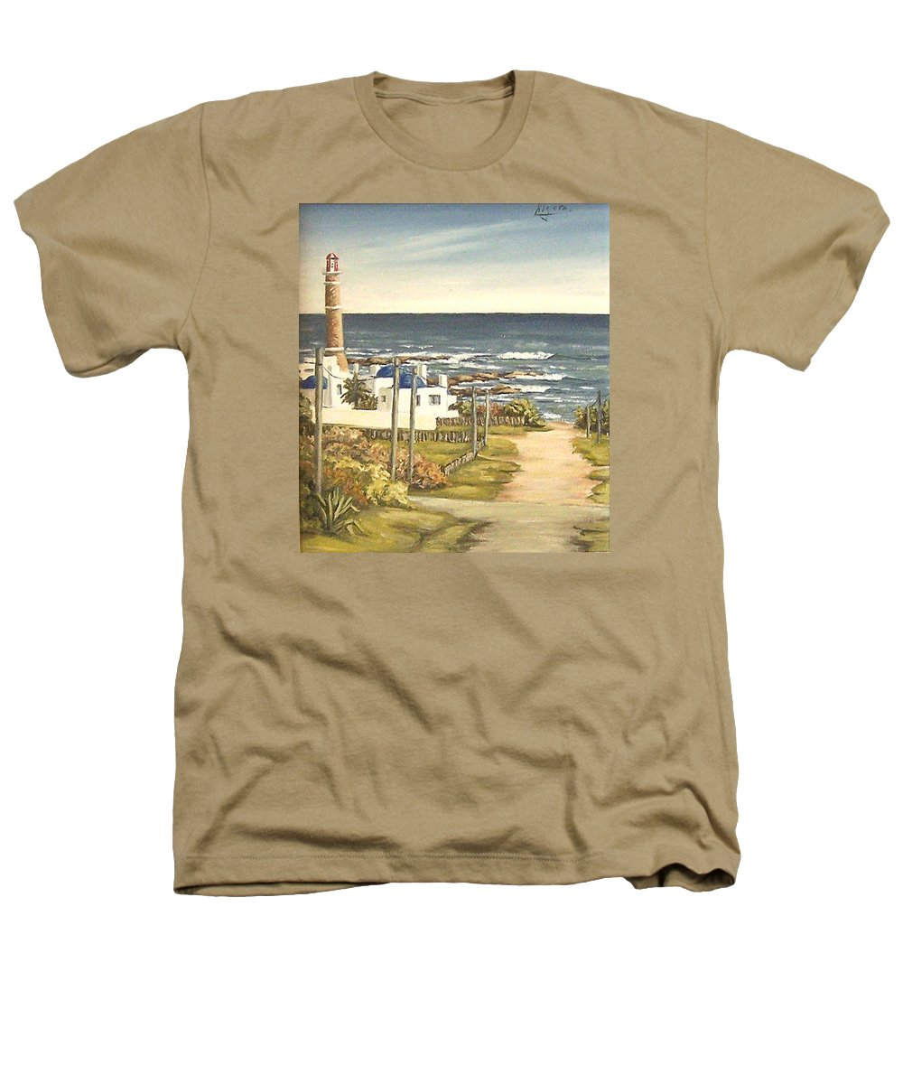 Lighthouse Seascape Sea Water Uruguay Heathers T-Shirt featuring the painting Lighthouse Uruguay by Natalia Tejera