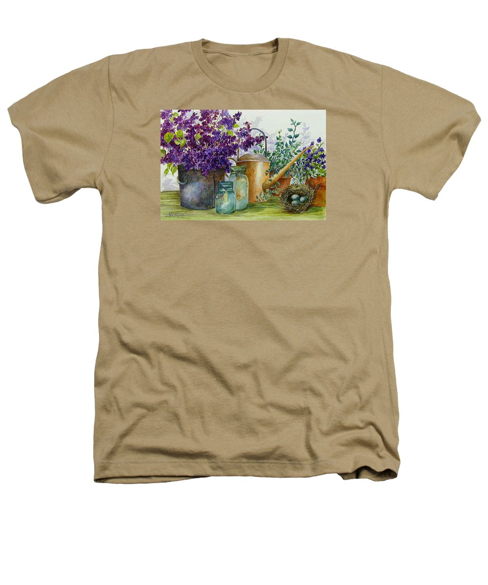 Still Life;lilacs; Ball Jars; Watering Can;bird Nest; Bird Eggs; Heathers T-Shirt featuring the painting Lilacs And Ball Jars by Lois Mountz