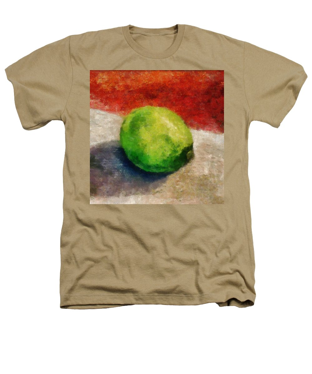 Lime Heathers T-Shirt featuring the painting Lime Still Life by Michelle Calkins