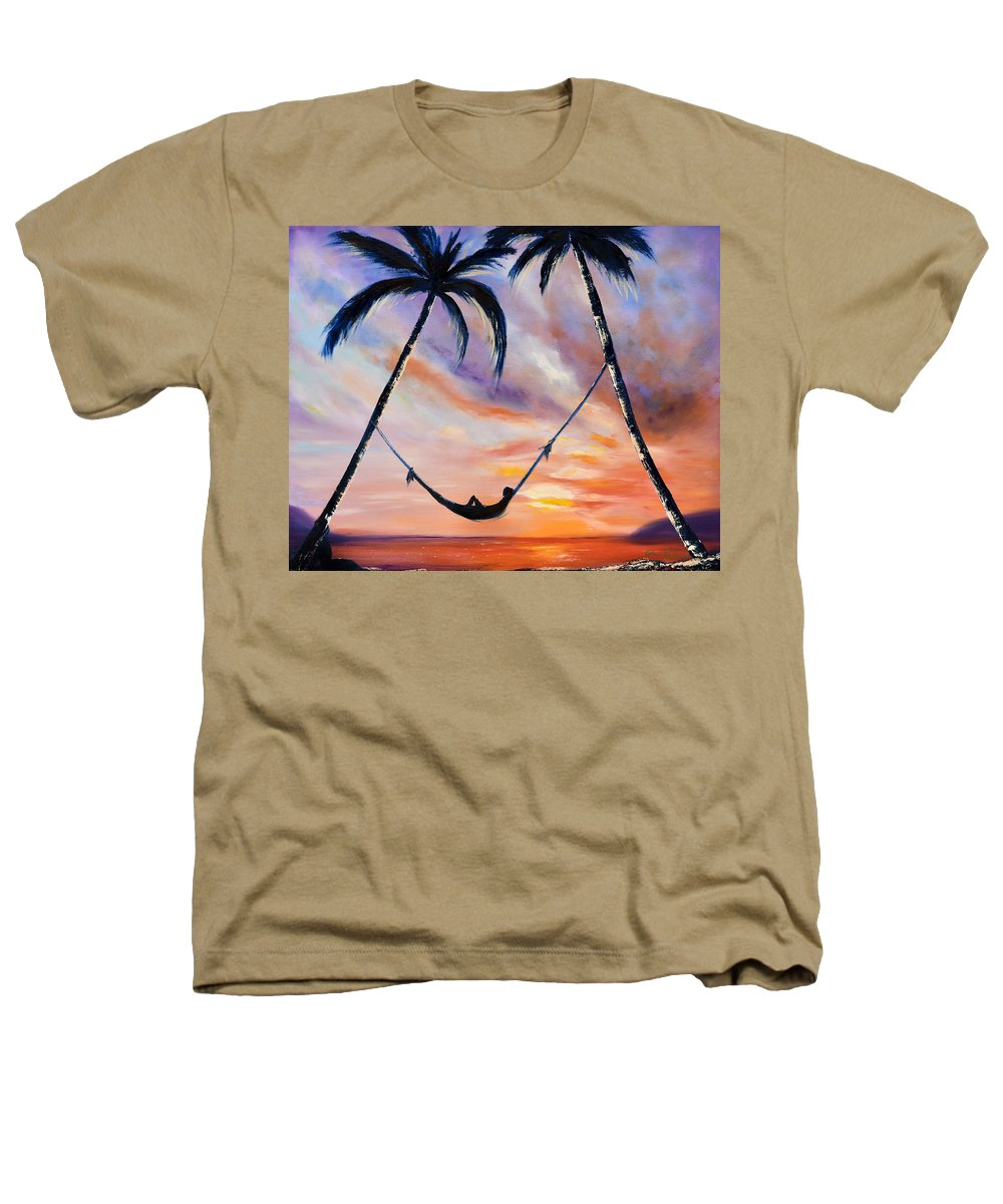 Sunset Heathers T-Shirt featuring the painting Living The Dream by Gina De Gorna